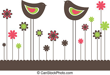 love., vetorial, dois pássaros