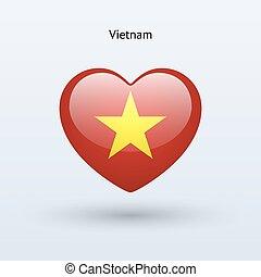 Love Vietnam symbol. Heart flag icon.
