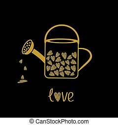 Love watering can with hearts inside. Gold sparkles glitter texture Black background