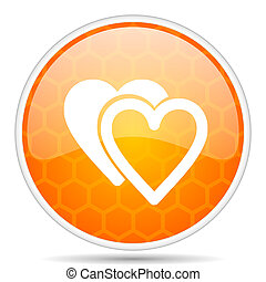 Love web icon. Round orange glossy internet button for webdesign.