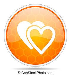 Love web icon. Round orange glossy internet button for webdesign.