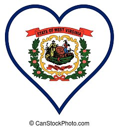 Love West Virginia - West Virginia state flag within a heart...