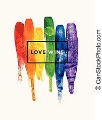 Love wins - Conceptual vector watercolor poster design with...