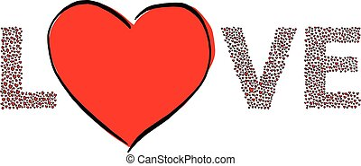 love with a lot of red heart shape vector illustration sketch doodle hand drawn with black lines isolated on white background