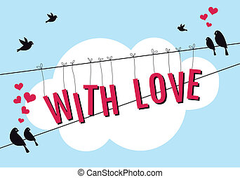 love with birds in blue sky, vector
