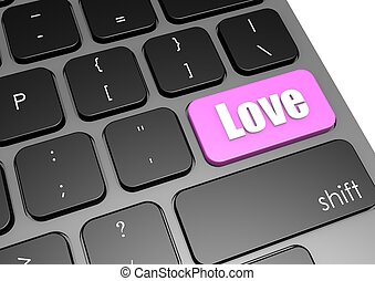 Love with black keyboard