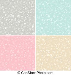 Love with flowers white seamless pattern