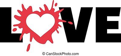 Love with heart splash