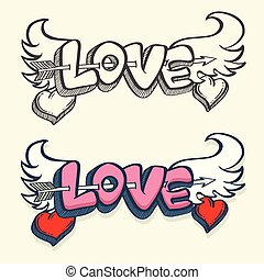 Love with hearts drawn