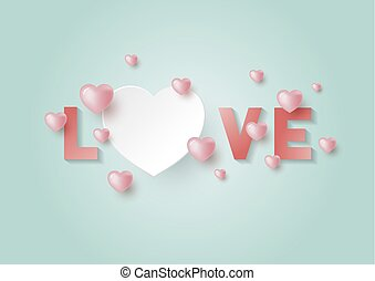 Love with hearts with copy space for Valentine's day and wedding card vector illustration