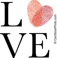 love with red fingerprint heart
