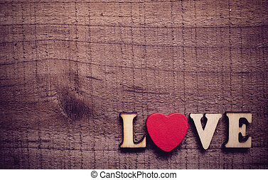 Love With Red Heart On Wood