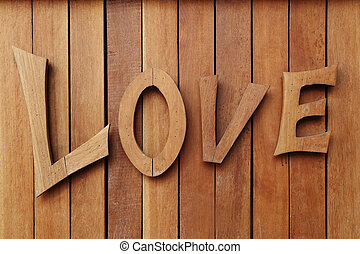 LOVE wooden text on wooden wall