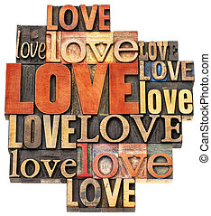love word abstract in wood type