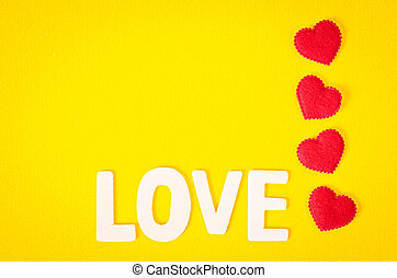 Love word and red heart.