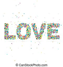 Love word consisting of colored particles