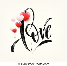 Love word in red heart. vector calligraphy and lettering ...