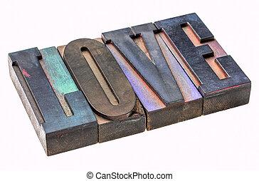 love word in vintage type blocks