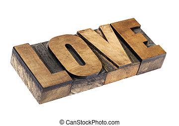 love word in wood type