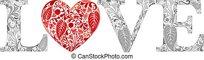 Word love made of gray floral letters and red heart
