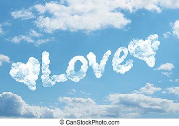 Love word on cloud
