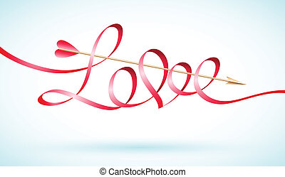 Love word ribbon with arrow - Love word ribbon with Cupid's...