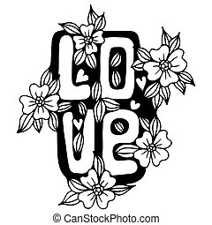 Love word with flower and heart on the white background