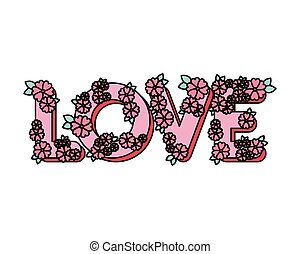 love word with flowers