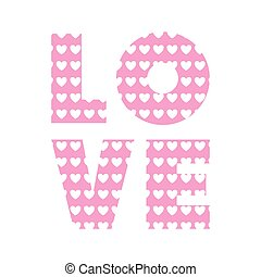love word with heart shape