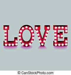 Love word with lightbulbs isolated vector