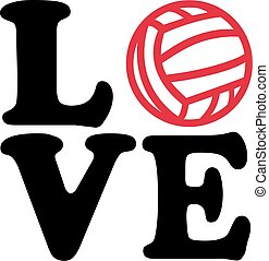 Love word with water polo ball