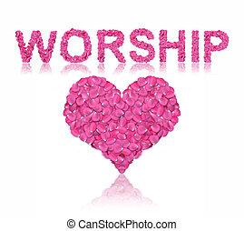 Love wording - Pink rose petals alphabet in wording with ...