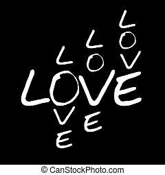 Love words vector illustration on black background
