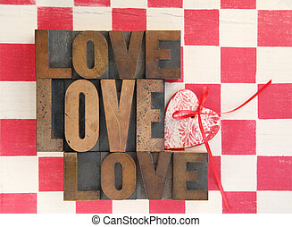 love words with heart on checks