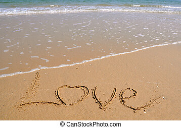 Love written in a sandy beach