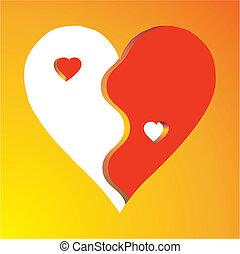Love Yin Yang on yellow background, vector