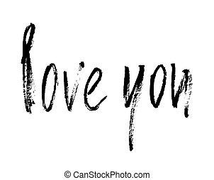 Love you card. Ink illustration.