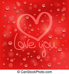 Love you. Drawn heart on the wet glass. Red background....
