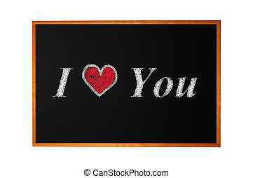 Love you handwritten with chalk on blackboard background
