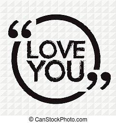 LOVE YOU lettering Illustration design