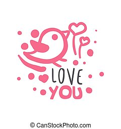 Love you logo template, colorful hand drawn vector Illustration in pink colors
