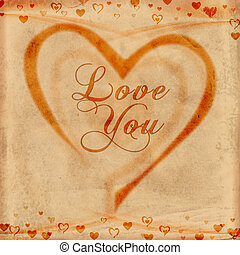 love you on old paper - text love you with hearts on old...
