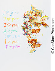 Love you - Paper with love you message and colored pencils...
