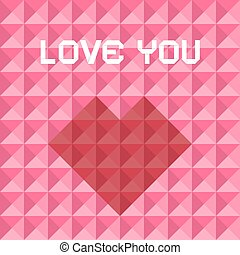 Love You Pink and Red Vector Triangle Background with Heart Symbol
