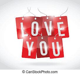 love you sign tags illustration design