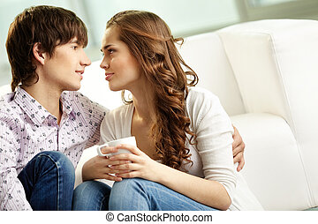 Love you - Tender couple spending time together indoors and...