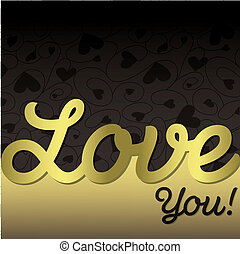 """""""Love You!"""" textured heart card in vector format!"""