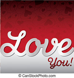 """Love You!"" textured heart card in vector format!"