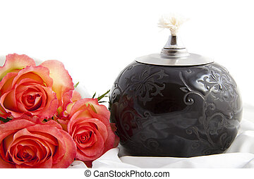 Love you the most - Pink roses on satin near oil lamp over...