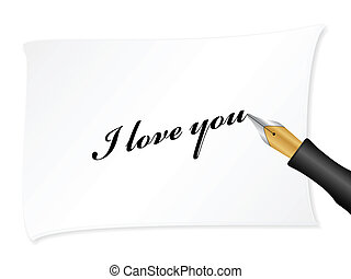 Love you - White note with text (i love you). Vector...